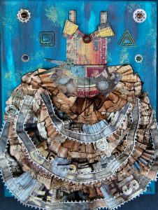 dress collage on canvas