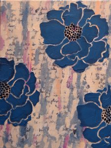 blue floral acrylic painting