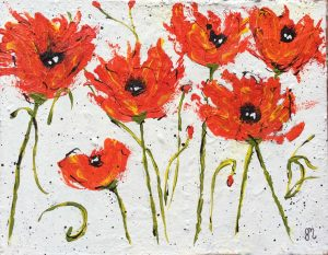 red poppy acrylic painting