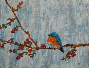collage of a bird on a branch