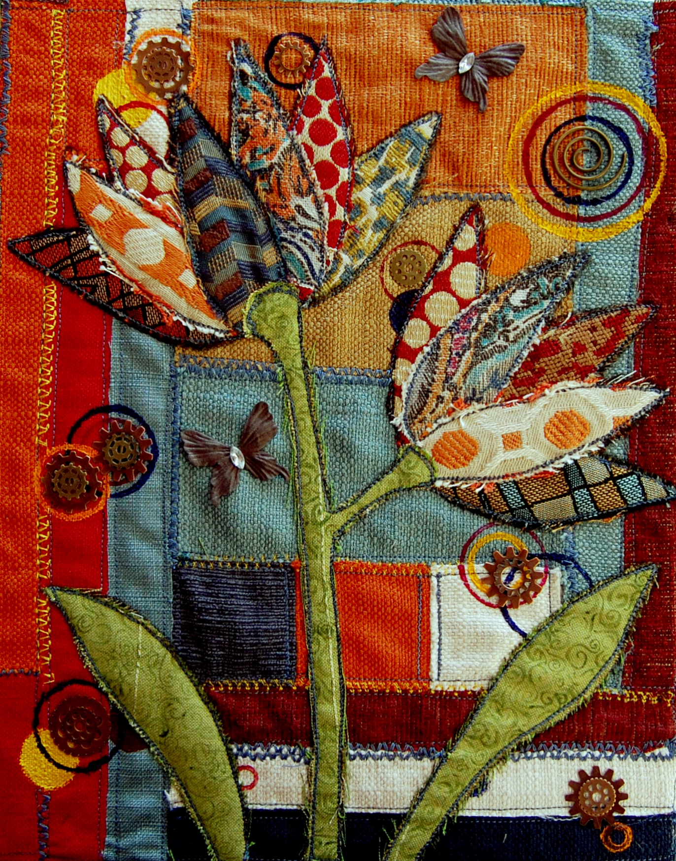 textile art on canvas